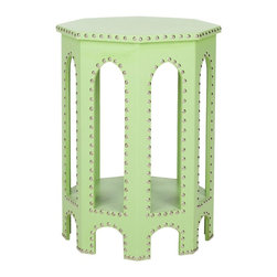 Nara End Table, Light Green - The nailhead trend gets a fresh look in green on this interesting end table.