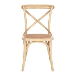 Safavieh - Franklin X Back Chair (Set Of 2) - Weathered Oak - Called the Franklin X Back Chair, Safaviehs version of Michael Thonets classic A150 bistro chair is crafted of oak in a ivory finish. With rattan caning on its seat and the characteristic arch brace, Franklin complements every kitchen and dining room from country to coastal. Comes in sets of two.