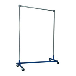 Z Racks - 5 ft. Heavy Duty Z-Rack Single Rail Garment R - Base Color: Blue. 500lb capacity. 14 gauge, 60 in. Long steel base (Environmentally safe powder coated finish ). 16 gauge, 72 in. upright bars and hang rail. 1 5/16 outside diameter upright bars and hang rail. Grey non-marking soft rubber with TP center 4 in. casters. Made in the USA. 63 in. L x 23 in. W x 79 in. HThe apparel industry relies on space-saving clothes racks for many reasons but because the shape of the Z-Rack folds right into another unit, it is able to be moved out of the way. More floor space is a great reason to choose it, but so is this rack�۪s long-lasting durability. Able to hold 500 lbs, with a five foot base and uprights that extend up to six feet, it�۪s a mobile multi-purpose rack that can provide needed storage and organization anywhere you need more hanging space.