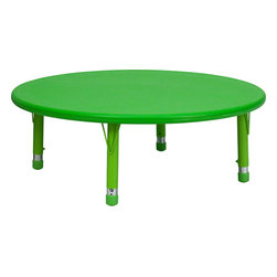 Flash Furniture - Flash Furniture 45 Inch Round Height Adjustable Green Plastic Activity Table - Kids activity tables are excellent for early childhood development. The primary colors make learning and play time exciting when several colors are arranged in the classroom. This durable table features a plastic top with steel welding underneath along with adjustable steel legs that is sure to last throughout the years. [YU-YCX-005-2-ROUND-TBL-GREEN-GG]