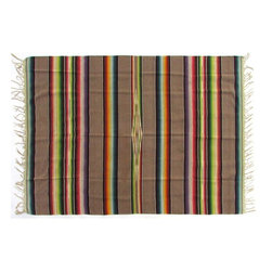 """Used Saltillo Serape with Tan Bands - A pre-1960s Saltillo serape throw with solid tan bands alternating with classic ombré stripes. It has 4""""L fringe on each end. There are some minor spots and other wear as expected for the age and use of this piece."""