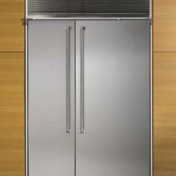 """Marvel - MPRON60CSSWS 60"""" Premium Built-in Side-by-Side Refrigerator  with Full Wrap Pro - Complete your kitchen with a 60 Premium Side-by-Side Refrigerator with Full Wrap Pro Handles White Interior Icemaker Glass Shelves with Stainless Steel Doors and Toekick"""