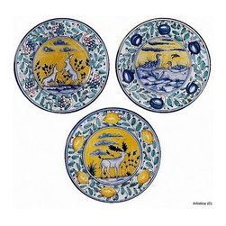 Artistica - Hand Made in Italy - MAJOLICA: Montelupo wall plates Elk, Geese, Hare (Set of Three) (8D.) - MAJOLICA Collection: This masterpiece truly reflect the expertise of the Italian Mastri-Ceramisti, who have spent the last five centuries perfecting the tin-glazed earthenware that is today called Majolica.