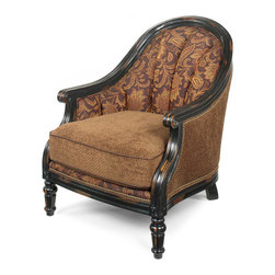 Hooker Furniture - Hooker Furniture Exposed Wood Club Chair EW551 - Leather: Padovanelle Mogano (Dark Brown) with Chantilly Fabric Package