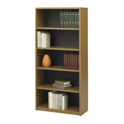 Safco - Value Mate Steel Bookcase w 5 Shelves in Medium Oak - Showcase decorative items, books, photographs and more with this durable five-shelf bookcase as part of your design. Ideal for a wide range of office functions, the bookcase is made of steel in medium oak powder coat and features a fiberboard backing for added style. Accommodate 3-ring binders and large publications. Generous 12 in. deep shelves. 24 ga. material thickness. Adjustable shelf with 1 in. increment. Shelf capacity 70 lbs.. Back is made of solid fiberboard. Made from steel. Powder coat finish. 31.75 in. W x 13.5 in. D x 67 in. H (44 lbs.). Assembly InstructionEconomical, sturdy and strong with the ValueMate Bookcases you can't go wrong! Exquisitely showcase photographs, keepsakes, literature and resources - and these shelves are perfect for larger publications and 3-ring binders! Make it functional or fun for your executive office, conference room, meeting areas, reception areas, waiting room, library, media center, sales offices and even your home office. These beautifully designed bookcases add the little extra that your workspace needs.