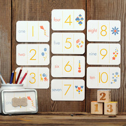 Letterpress Number Flash Cards by Ruff House Art - These letterpress flash cards are an educational tool that helps take kids from reciting their numbers by memory to connecting meaning to those numbers.