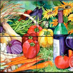 The Tile Mural Store (USA) - Tile Mural - Vegetable Medley  - Kitchen Backsplash Ideas - This beautiful artwork by Kathleen Parr McKenna has been digitally reproduced for tiles and depicts a very colorful flower and vegetable scene.  Our decorative tiles with wine are perfect to use for your kitchen backsplash tile project. A wine tile mural adds elegance and interest to your kitchen wall tile area and makes a wonderful kitchen backsplash idea. Pictures of wine on tiles and images of wines bottles on tiles and wine glasses on tiles is timeless and these decorative tiles of wine blend with any decor. Your kitchen will come to life with a tile mural featuring wine.