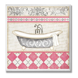 Stupell Industries - Pink Bath with Tub Bath Wall Plaque - Made in USA. Ready for Hanging. Hand Finished and Original Artwork. No Assembly Required. 12 in L x .5 in W x 12 in H (2 lbs.)Point your guests in the right direction with elegant bathroom plaques from The Stupell Home decor CollectionEach plaque comes with a sawtooth hanger for easy installation on bathroom doors or walls.