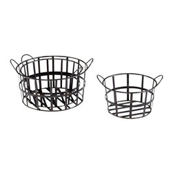 "Cyan - Barn Baskets, Set of 3 - - Set of 3. - Small: 15""Wx15""Dx8.75""H - Medium: 15.5""Wx15.5""Dx9.75""H- Large: 17.75""Wx17.75""Dx11""H.- Weight: 14.8 lbs."