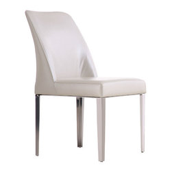 """Whiteline Imports - Amy Dining Chair (Set of 2) - Gracefulness and elegance define this leather dining chair. Features: -Set includes 2 chairs. -Upholstery: Leather. -Stainless steel frame. Dimensions: -35"""" H x 22"""" W x 20"""" D, 51 lbs."""