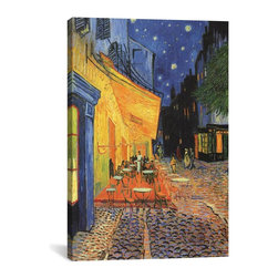 Vincent van Gogh Canvas Print, The Cafe Terrace on the Place du Forum,  Arles, - Museum-quality canvas print by Vincent van Gogh gallery wrapped and ready for wall hanging with no additional framing required. The canvas print is remarkably bright in color and unrivaled in detail with quality ink that has been light-tested to last over 100 years!