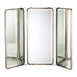 Dash Mirror Trio - The classicism of the triptych is updated by rounded corners, simple frames, and the current appeal of timeless antiqued nickel. Contained in a hinged frame that can be placed as a free-standing unit atop a dresser or vanity or hung by a curb chain on the wall, the three reflective panes of the Dash Mirror enhance light, increase the depth of vignettes, and provide practicality in decor.