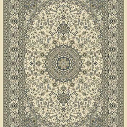 "Dynamic Rugs - Dynamic Rugs Ancient Garden 57119-6464 (Ivory) 6'7"" x 9'6"" Oval Rug - Turn of the Century Persian patterns are skill fully recreated in this exciting and sophisticated collection. The antique shades from sun-washed colors are blended softly with today's fashion of low contrast patterns with field colors of champagne, dusted blue, soft greens, creme, malt and a luxurious black or ruby red. Woven with DECOLAN, a wool-like fine heat-set polypropylene fibre at nearly a million points per square meter to achieve a fine pencil point finish and design clarity."
