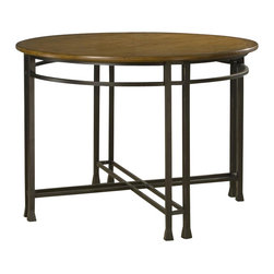 Home Styles - Home Styles Oak Hill Round Casual Dining Table in Oak Finish - Home Styles - Dining Tables - 505030 - Home Styles Oak Hill Table is constructed of Ash solids and Oak veneers with engineered wood in a rich multi- step distressed Oak finish. Features include stylish metal base in an antiqued bronze finish with accented rubbed edges and uniquely hand distressed top.Features: