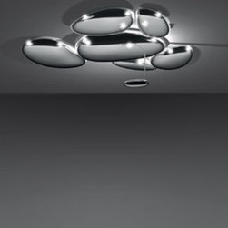 """Artemide - Artemide Skydro LED Ceiling Light Electrified - The Skydro ceiling light from Artemide has been designed by Ross Lovegrove 2009. This ceiling mounted luminaire is great for indirect LED lighting      The Skydro ceiling light from Artemide has been designed by Ross Lovegrove 2009. This ceiling mounted luminaire is great for indirect LED lighting. This series of pebbles forms a bright sky reflecting the light that bounces on its biomorphic surfaces The Skydro is composed of reflective units (pebbles) made of molded thermoplastic with a polished chrome finish. This fixture is available in two versions: Electrified: indirect light comes from die-cast polished aluminum pebbles that are integrated in luminaire. Non-electrified: accent light comes from other light source that is separate from luminaire. Single modules can be grouped together to form various configurations Assembly kit (template) required only when joining multiple units together, only one kit is required regardless of number of units, an assembly kit is not required for single installation. Electrical connection kit required when joining multiple electrical units together, the required amount is equal to the number of electrified units minus one, not required for single installation Mounting to standard electrical junction boxes and with provision for additional concealed ceiling fastening.  Filling the atmosphere with majestic illumination and cosmic ambiance, this luminaire leaves you with the night sky at your fingertips.     Manufacturer: Artemide   Designer: Ross Lovegrove    Made in:  Italy   Dimensions:   Electrified Version: Height: 53.5"""" (135.8 cm) X Width: 56 1/8"""" (142.5 cm)X Projection: 16 5/8"""" (42.2 cm)     Lamping:  LED 35W      Material:  Aluminum, Thermoplastic"""