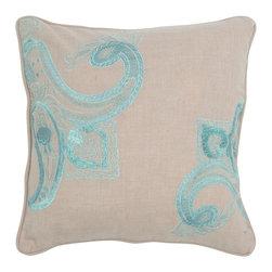 """Khaki Blue Embroidered 18"""" x 18"""" Pillow  Set of 2 - *18"""" x 18"""" Pillow with Hidden Zipper"""
