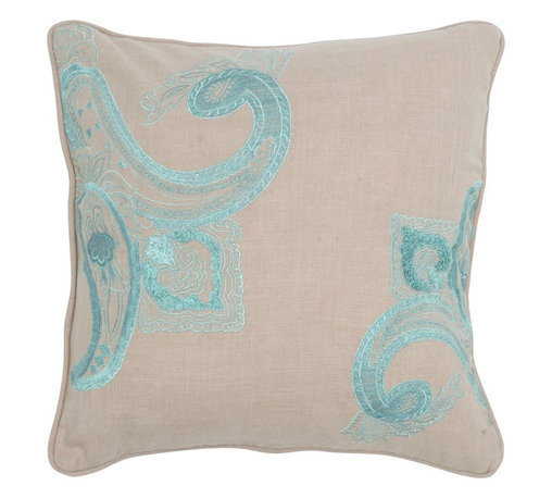 "Khaki Blue Embroidered 18"" x 18"" Pillow  Set of 2 - *18"" x 18"" Pillow with Hidden Zipper"