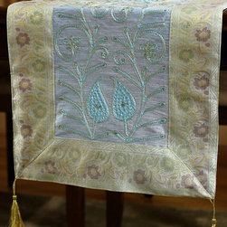 """Elegant Table Runners - Cute """"Ornamental Embroidered"""" Ice Blue table runner. Hand crafted in India. Great complement to any table top."""