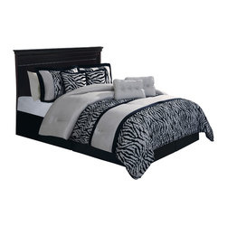 Pem America - Pleated Safari Stripe King Comforter Set with 4 Bonus Pillows - Pleated Safari Stripe comforter set is pieced from jacquard woven cloth and features pleated highlights on a zebra skin print fabric.  Framed by shimmering black and tan fabrics this is a must have to if you want to wake up your master bedroom.  This ensemble comes complete with pillow shams and decorative pillows to help you complete the bed just like a designer! Includes king comforter 102x90 inches, 2 king size shams and 1 king bed skirt fitting a 76x80 mattress with 2 16x16 inch and 2 12x16 inch decorative pillows. Pieced and pleated with embroidered highlights. 100% polyester. Dry clean suggested.