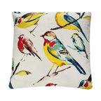 Yellow Red Bird on Branch Decorative Pillow l Chloe and Olive - Chloe & Olive