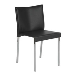 Eurostyle - Eurostyle Riley Leather Side Chair w/ Chromed Steel Base in Black [Set of 2] - Leather Side Chair w/ Chromed Steel Base in Black belongs to Riley Collection by Eurostyle The Riley Side Chair is simply chic and oh so stylish! The perfect addition to any dining table, the Riley Side Chair pairs comfortable seating with a great modern look. This modern chair features a seat and back covered completely in leather available in your choice of color, each of which is perfectly complemented by chromed steel legs. The Riley Chair offers exceptional style and quality, and is suitable for commercial use. Side Chair (2)