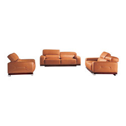 ESF - ESF 2766 Full Camel Top Grain Italian Leather Sofa Set With Adjustable Headrests - The ESF 2766 sofa set is a great addition for any living room that needs a touch of modern design. This sofa set comes fully upholstered in a beautiful camel top grain Italian leather. High density foam is placed within the cushions for added comfort. Each piece features built-in adjustable headrests for that extra touch of added relaxation. Only solid wood products were used when crafting the frame making the sofa a very durable piece.