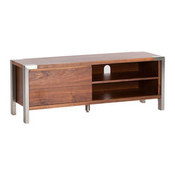 Moe's Home Collection - Moe's Home Winton Small TV Stand in Walnut - Entertainment unit with clean lines and storage