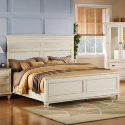 Riverside Coventry Shutter Panel Bed - Dover White - You might shudder with joy at the sight of the Coventry Sleigh Shutter Panel Bed – Dover White, a stunning example of vintage design and style. Crafted to be both charming and functional, this bed offers ample room for under-the-bed storage. A dover white finish lends the bed impeccable antique style. Constructed of solid hardwoods with oak and ash veneers. Bed Dimensions: Queen: 87L x 68W x 62 inchesKing: 87L x 84W x 62H inchesCalifornia King: 91L x 84W x 62H inches Notes on Riverside ConstructionAll Riverside domestic furniture is constructed of fine oak, ash, poplar, and pine wood. These wood types are durable and feature beautiful, open grains that make them much preferred among furniture manufacturers. Each piece of wood is first graded for quality, then kiln-dried to remove excess moisture and prevent splitting. The wood is then constructed into a high-quality furniture piece using a combination of hardwood solids and hand-selected veneers. Techniques used on Riverside pieces include dovetail joinery, heavy-duty drawer roller guides, and multi-step finish applications that include hand-sanding and polishing for a deep, lustrous result. All Riverside furniture is given this high-quality treatment to ensure the beauty and durability of your final product. About Riverside FurnitureRiverside has been growing for more than half a century. The company's founder, Herman Udouj, opened the doors to his first factory in 1946, and along with 12 employees, he began making handcrafted furniture for the post-World War II Baby Boom era. Since then, generations of customers have furnished their homes and offices with Riverside's wide range of furniture products. Riverside strives to be trusted for quality products that are an affordable value. It's just that simple.