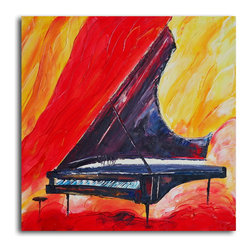 """Omax Decor - Pianist in Absentia Hand painted Canvas Wall Art - Overall size: 32"""" x 32"""" . Enjoy a 100% Hand Painted Wall Art made with acrylic paints on canvas stretched over a 1"""" thick wooden frame. The painting is professionally hand-stretched and ready to hang out of the box. With each purchase of our art you receive a one of a kind piece due to the handcrafted nature of the product."""