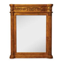 "Hardware Resources - Jeffrey Alexander Burled Mirror in Walnut Burled (MIR012) - 33 11/16"" x 42"" Golden pecan mirror with hand carved details and beveled glass"