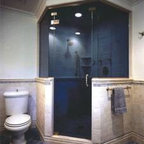 Neo-Angle Shower Enclosures - Neo-Angle Door and 2 Stationary Panel Shower Enclosure with Dark Glass