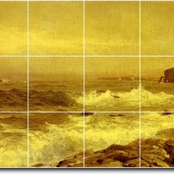 Picture-Tiles, LLC - Rocky Sea Coast Tile Mural By William Richards - * MURAL SIZE: 24x48 inch tile mural using (18) 8x8 ceramic tiles-satin finish.