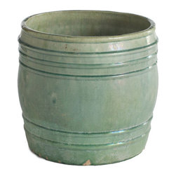 Sage Chinese Pot - Barrel - Nestled into a shelving unit, filled with items collected from the beach, or simply arranged into a centerpiece, this ceramic sage green jar can occupy those small empty places your home. It's handmade, so the size and the glaze may vary slightly giving each one their own unique differences.