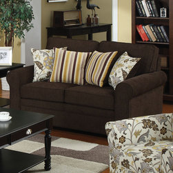 Coaster - Rosalie Loveseat, Black Brown - Draped in dual-colored woven fabric, the Rosalie collection offers ultimate comfort and style. Add a splash of color and liveliness to your room with four accent pillows on both sofa and love seat. And to complete the ensemble, pair these pieces with a matching floral accent chair. Features solid wood legs, pocket coil spring seating and clean poly fill cushions.
