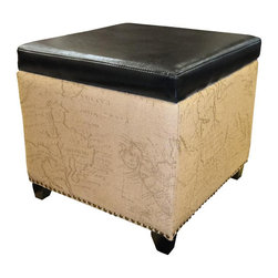 Armen Living - Armen Living Antique Brown Storage Ottoman with Natural Jute and Accent Nails - Rest a tray of cocktails or stow blankets and throws inside this stylish storage ottoman. Accented with antique nails and wrapped in a harmony of plush antique bonded leather and jute fabric for lasting appeal.