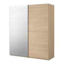 IKEA of Sweden - PAX Wardrobe with sliding doors - Wardrobe with sliding doors, white stained oak, Malm mirror/white stained oak
