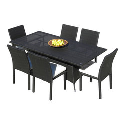 MangoHome - Outdoor Patio Wicker All Weather Resin 7 Piece Dining Table and Chairs Set - This amazing outdoor dining set comes in 7 different pieces. It is very functional, stylish and designed to meet your needs! Look at our pictures to view all of the possibilities! Each wicker set is hand crafted by trained professionals with premium quality materials assuring your set will last many years!