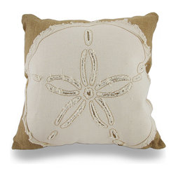 Zeckos - Burlap and Cotton Embroidered Sand Dollar Throw Pillow 18 in. - Add a pop of natural nautical charm brimming with decorative flair to your living room sofa, the Adirondack chair on your covered patio, or your garden room chaise with this beautifully embroidered sand dollar inspired throw pillow. It features a 100% jute cover with a cotton sand dollar applique on the front and a hidden zipper on the back to easily remove the polyester filled insert to spot clean the cover as needed, and measuring 18 inches high by 18 inches long (46 cm by 46 cm), it'll easily blend in with your existing decor, and it's perfect to toss on the bed, to highlight a formal dining room or tuck under your arm while watching your favorite television shows. The lovely embroidery work and rough edges of the sand dollar adds an artistic touch that's sure to be admired by all!
