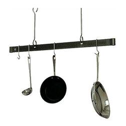 """Enclume - Premier 60 Inch Offset Hook Ceiling Pot Rack, Hammered Steel - Dimensions: 60""""L x 20""""H"""