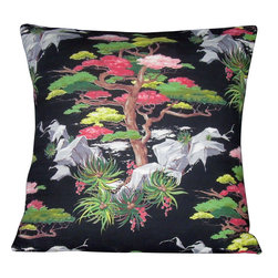 "Mid Century Home USA - Asian Barkcloth Pillow Cover ""Asian Bloom"" Mid Century Oriental Pillow - This pillow cover is made from a very unique 1940's barkcloth fabric.  The fabric is textured and heavy-weight with vibrant hues. Colors include pinks, grays, and greens which seem to pop off the black background.  The back of the pillow is made from a coordinaating black duck canvas to help the pillow hold its shape (see picture # 3). The pillow insert is NOT included. The pillow cover is professionally made with serged seams to prevent fraying and has an envelope closure. The pillow is sized for a 20"" pillow insert.  Limited quanity!"