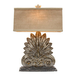Athenia Lamp - The look of architectural salvage gives prestige to an urbane table lamp with a deep, rich artisan finish.  The Athenia Lamp's base is composed of a low stone-colored plinth supporting an Ionic volute ornament.  The fan- or palm-shaped ornament above is in fact a stylized peacock, queenly bird of Athenian myth and an instant dose of style in your traditional room.  A rectangular linen shade is secured by a matching floral finial; solid brass cap fittings complete the elegant lamp.