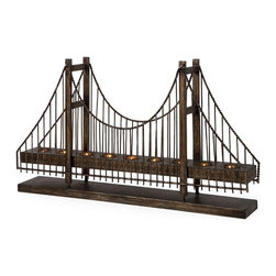 IMAX CORPORATION - Suspension Bridge Candleholder - Antique-style suspension bridge table-top tea light candle holder. Holds 9 tea lights. Find home furnishings, decor, and accessories from Posh Urban Furnishings. Beautiful, stylish furniture and decor that will brighten your home instantly. Shop modern, traditional, vintage, and world designs.