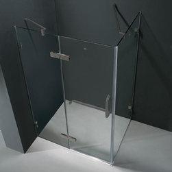 """Vigo - Vigo 32 x 48 Frameless 3/8 Shower Enclosure, Clear and Brushed Nickel - Vigo VG6011BNCL48 32"""" x 48"""" Frameless 3/8"""" Shower Enclosure, Clear and Brushed Nickel"""