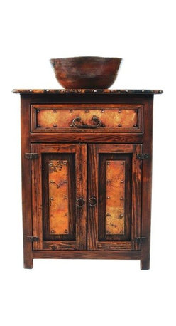 "SoLuna - 28"" El Cerrito Wood and Copper Vanity - This rustic gem is hand crafted from recycled copper and reclaimed wood from Mexico. The rich colors of red, brown, orange, and black in the copper is a function of the very small amount impurities in the recycled copper, and also a function of the specific temperature of the fire used to heat the copper. The colors are random and no two pieces turn out exactly alike."