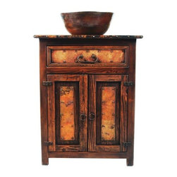 """SoLuna - 28"""" El Cerrito Wood and Copper Vanity - This rustic gem is hand crafted from recycled copper and reclaimed wood from Mexico. The rich colors of red, brown, orange, and black in the copper is a function of the very small amount impurities in the recycled copper, and also a function of the specific temperature of the fire used to heat the copper. The colors are random and no two pieces turn out exactly alike."""