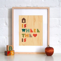 Petit Collage Home is Where the Heart Is - Print on Wood - Home is Where the Heart Is - Print on Wood