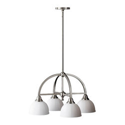 Murray Feiss - 4 Bulb Brushed Steel Chandelier - - UL Dry Approved.