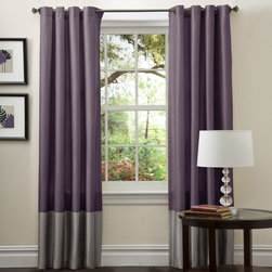 Lush Decor - Lush Decor Prima Grey/ Purple 84-inch Curtain Panels (Set of 2) - Add a subtle pop of color to your living room with these purple curtain panels from Lush Decor. This set of two panels is 84 inches long and made of patterned faux silk. With rod-pocket construction, these curtains feature trendy gray color blocking.