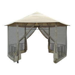 DC America - Hexagon Gazebo with Insect Screen - GO31805BLBB-GM - Shop for Gazebos from Hayneedle.com! About D.C. America Over the past two decades D.C. America s dedication to hard work quality and service has led the company to become a premiere supplier of outdoor furnishings throughout the United States. From gazebos to garden tools to benches D.C. America painstakingly designs and crafts standard-setting outdoor living products. Only the best materials are used for every product ensuring longevity and durability.