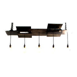 hand made - Multi-tiered Steel Five Light Fixture - This amazing multi-tiered fixture is entirely handcrafted of steel and finished with a weathered black patina. While definitely industrial in nature, the piece would look spectacular with mid-century, rustic or modern decor.